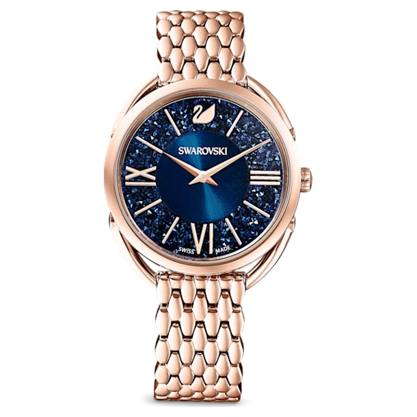 Crystalline Glam Watch, Metal Bracelet, Blue, Rose-gold tone PVD - Swarovski, 5475784