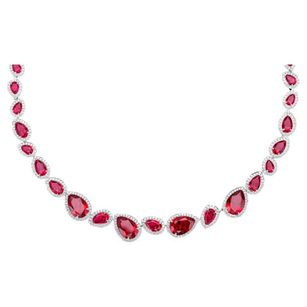 Lola Necklace, Swarovski Created Rubies, 18K White Gold - Swarovski, 5476755
