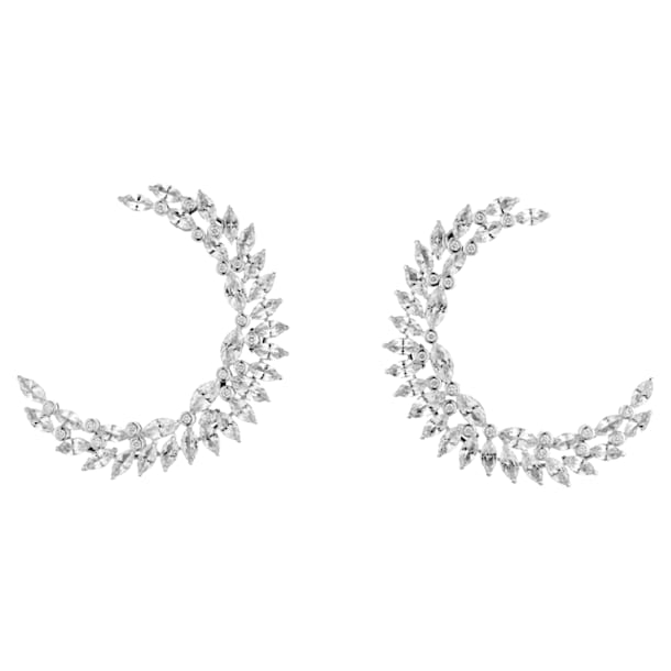 Luna Earrings, Swarovski Genuine Topaz & Swarovski Created Diamonds, 18K White Gold - Swarovski, 5476771