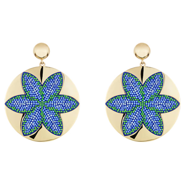 Evil Eye Pierced Earrings, Flower, Blue, Gold-tone plated - Swarovski, 5477551