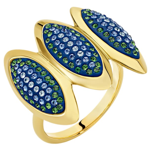 Anello cocktail Evil Eye, blu, placcato color oro - Swarovski, 5477555