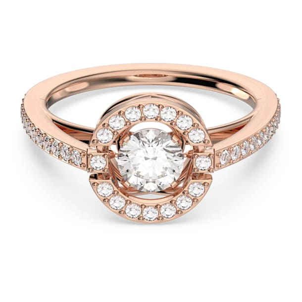 Swarovski Sparkling Dance Round Ring, White, Rose-gold tone plated - Swarovski, 5479934
