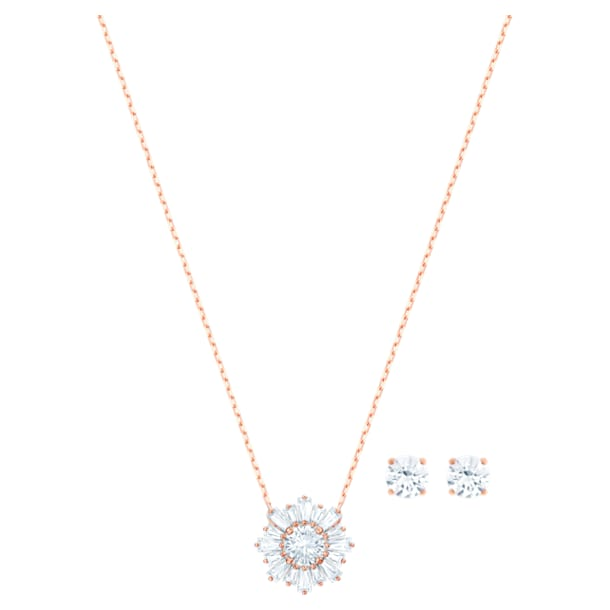 Sunshine Set, White, Rose-gold tone plated - Swarovski, 5480468