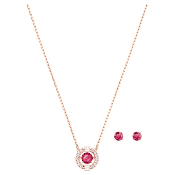 Swarovski Sparkling Dance Round Set, Red, Rose-gold tone plated - Swarovski, 5480494