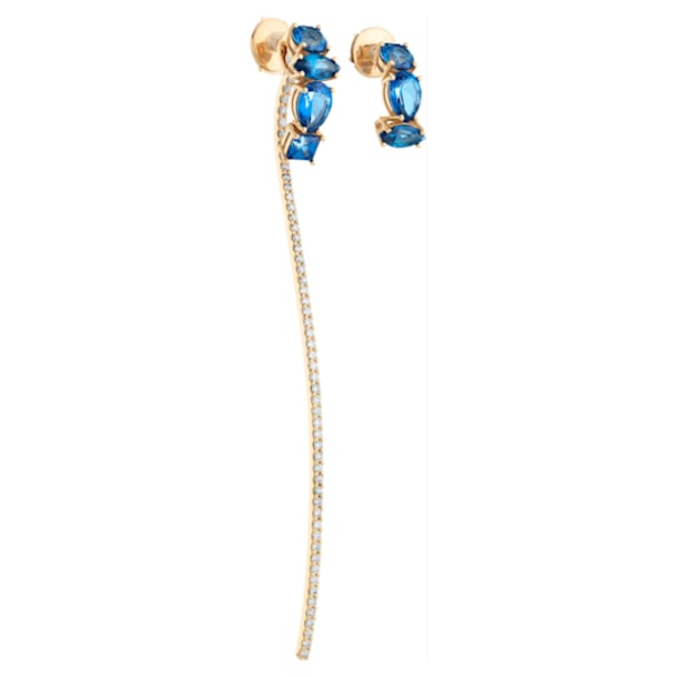 Arc-en-ciel Two-Piece Mis-Match Earrings, Caribbean Blue Treated Swarovski Genuine Topaz, 18K Yellow Gold - Swarovski, 5481741