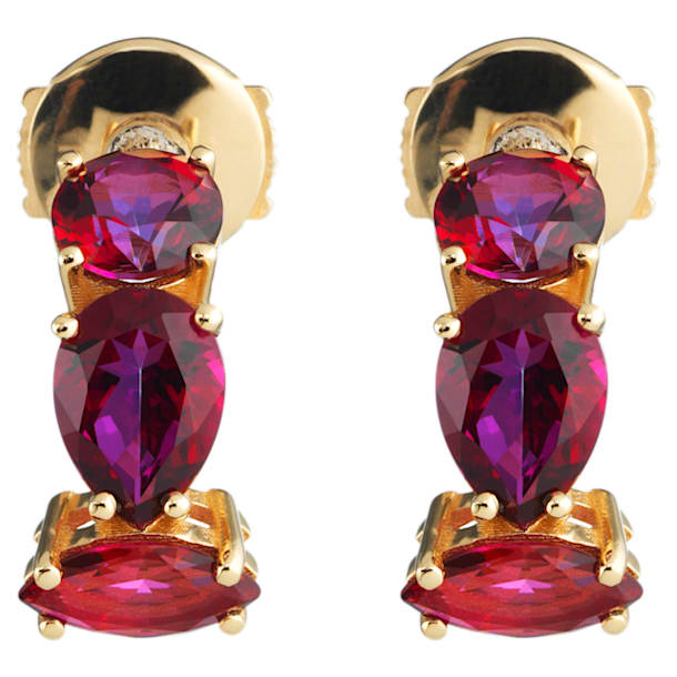 Arc-en-ciel Earrings, Blazing Red Treated Swarovski Genuine Topaz, 18K Yellow Gold - Swarovski, 5481745