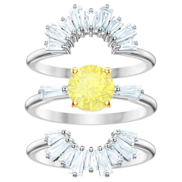 Sunshine Ring Set, White, Rhodium plated - Swarovski, 5482498