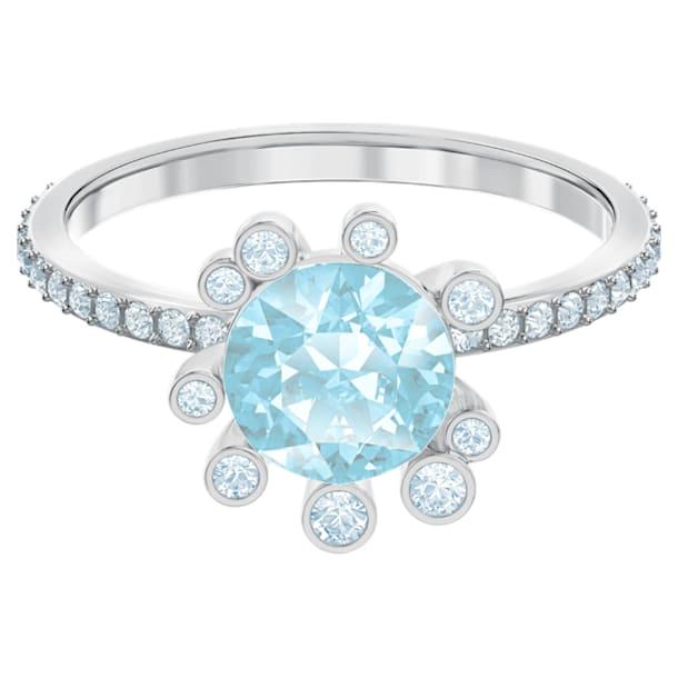 Olive Ring, Aqua, Rhodium plated - Swarovski, 5482502