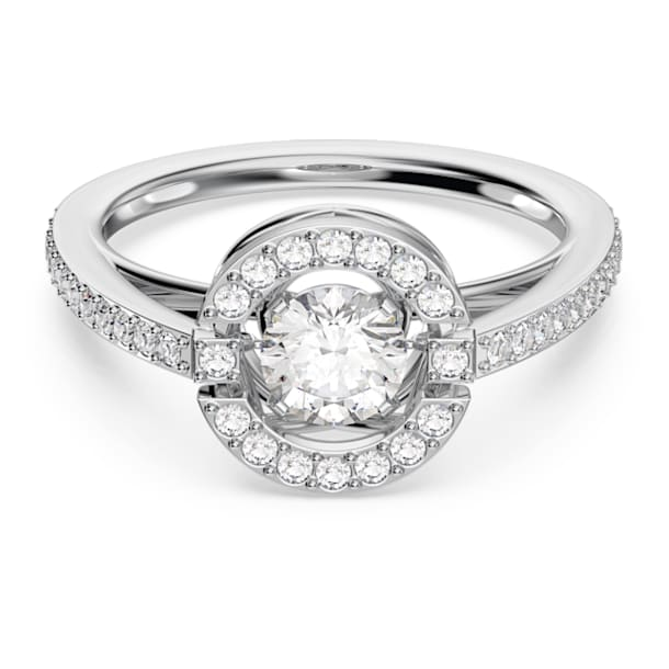 Swarovski Sparkling Dance Round Ring, White, Rhodium plated - Swarovski, 5482513