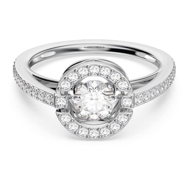 Prsten s kulatým kamenem Swarovski Sparkling Dance, Bílý, Rhodiem pokovený - Swarovski, 5482518