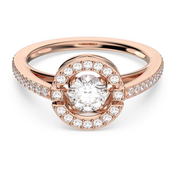 Δαχτυλίδι Swarovski Sparkling Dance Round, λευκό, επιχρυσωμένο σε χρυσή ροζ απόχρωση - Swarovski, 5482705