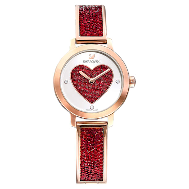 Cosmic Rock watch, Heart, Metal bracelet, Red, Rose-gold tone PVD - Swarovski, 5483519