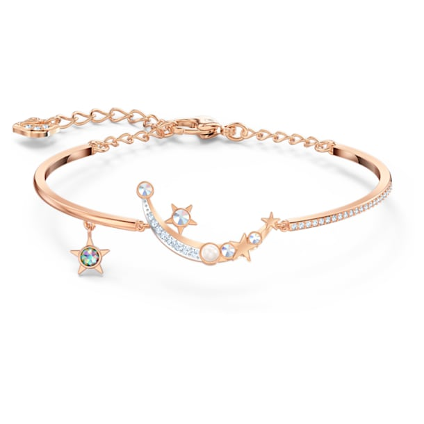 Starry Night bracelet, Moon and star, White, Rose-gold tone plated - Swarovski, 5483533
