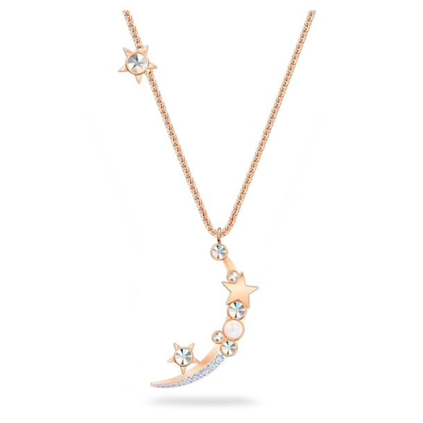 Starry Night necklace, Moon and star, White, Rose-gold tone plated - Swarovski, 5483536