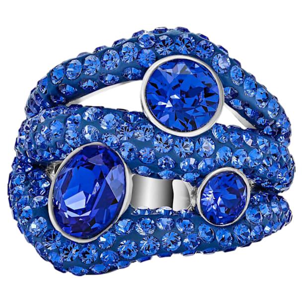 Tigris Cocktail Ring, Blue, Palladium plated - Swarovski, 5483909