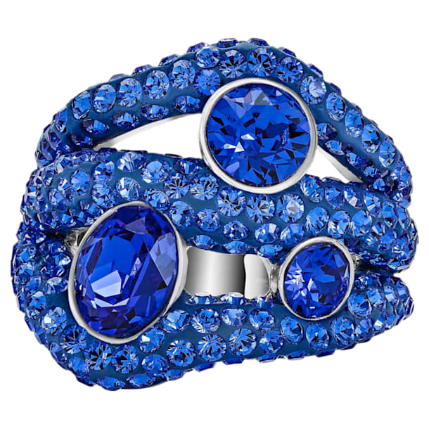 Tigris Cocktail Ring, Blue, Palladium plated - Swarovski, 5483909