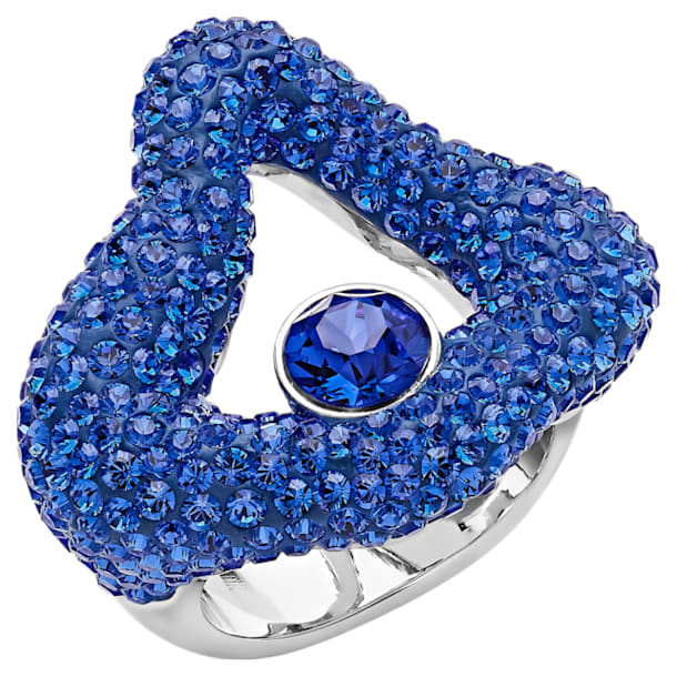 Anello aperto Tigris, azzurro, Placcatura in palladio - Swarovski, 5483910