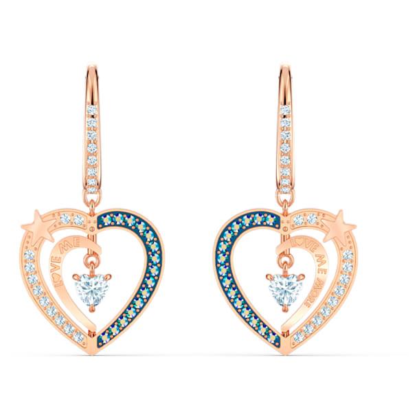 Starry Night Heart 穿孔耳環, 藍色, 鍍玫瑰金色調 - Swarovski, 5484016