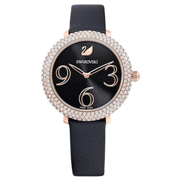 Zegarek Crystal Frost, pasek ze skóry, czarny, powłoka PVD w odcieniu różowego złota - Swarovski, 5484058