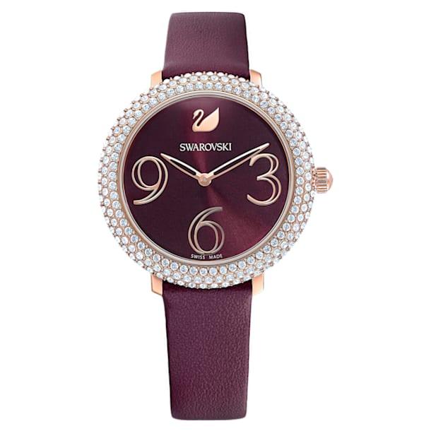 Montre Crystal Frost, bracelet en cuir, Rouge, PVD doré rose - Swarovski, 5484064