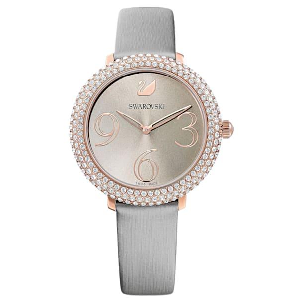 Crystal Frost horloge, Lederen band, Grijs, Roségoudkleurig PVD - Swarovski, 5484067
