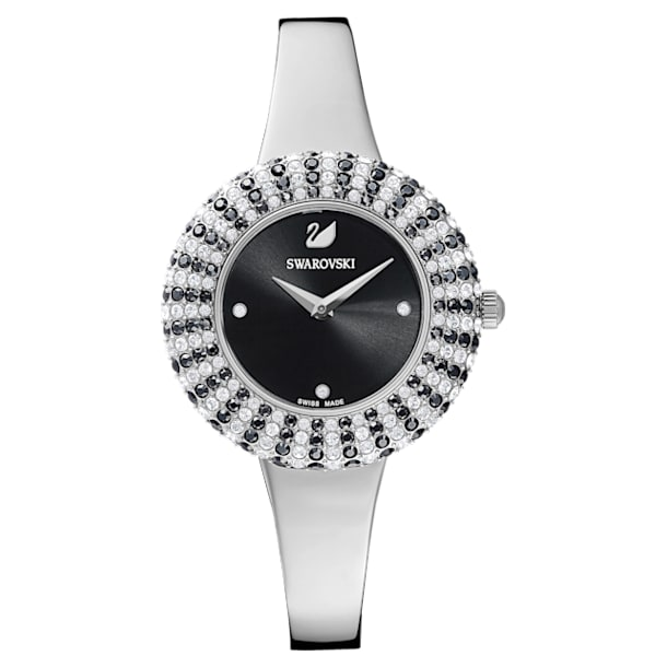 Crystal Rose Watch, Metal Bracelet, Black, Stainless Steel - Swarovski, 5484076