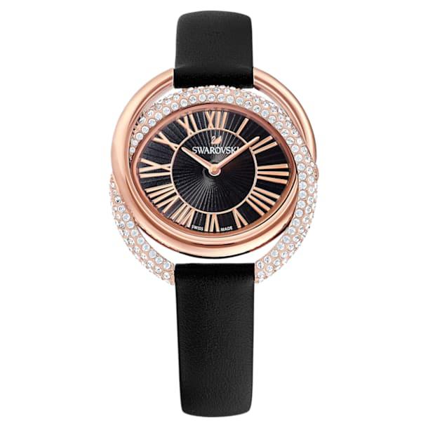Ρολόι Duo, δερμάτινο λουράκι, μαύρο, PVD σε χρυσή ροζ απόχρωση - Swarovski, 5484373