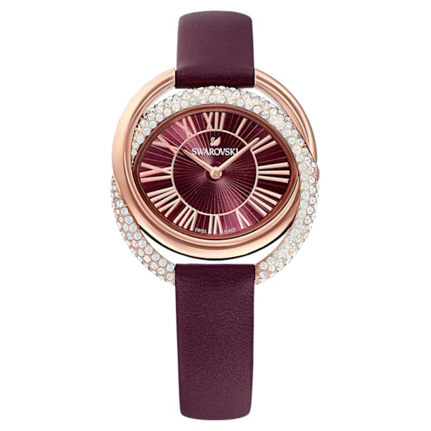 Duo Watch, Leather strap, Dark red, Rose-gold tone PVD - Swarovski, 5484379