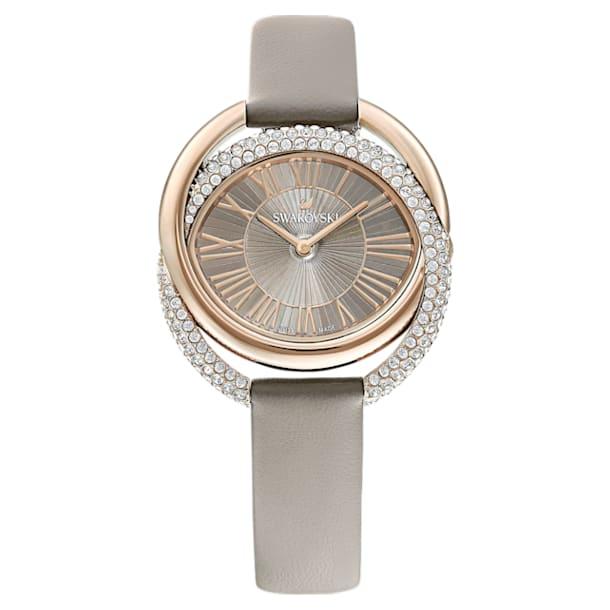 Montre Duo, Bracelet en cuir, gris, PVD doré champagne - Swarovski, 5484382