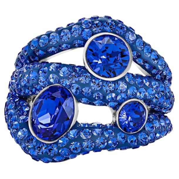 Bague cocktail Tigris, bleu, Métal plaqué palladium - Swarovski, 5484498