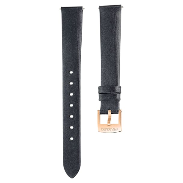 14 mm Horlogebandje, Zijde, Zwart, Roségoudkleurige toplaag - Swarovski, 5484604