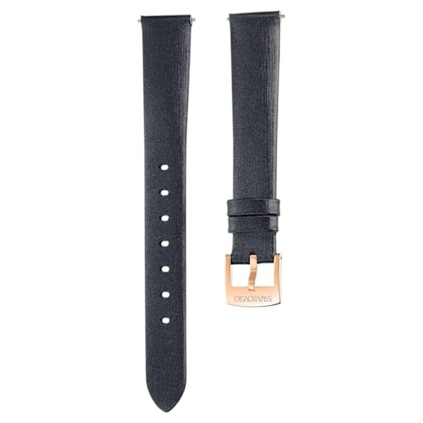 14mm Watch strap, Silk, Black, Rose-gold tone plated - Swarovski, 5484604