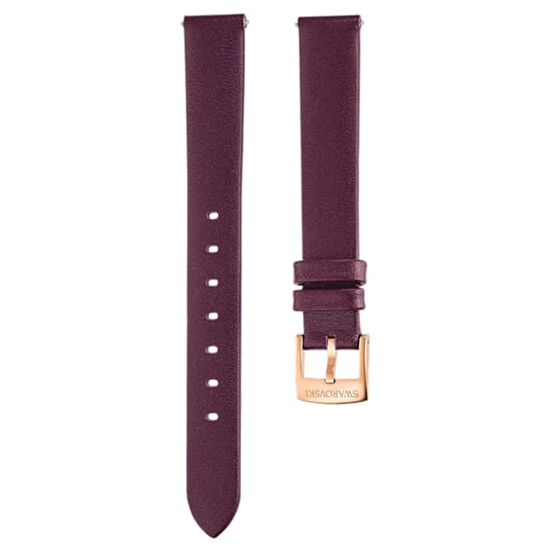 14mm 表带, 皮革, 深红色, 镀玫瑰金色调 - Swarovski, 5484611