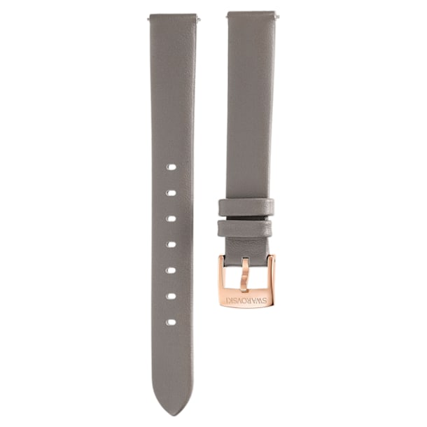 13mm Watch strap, Leather, Taupe, Champagne-gold tone PVD - Swarovski, 5485043