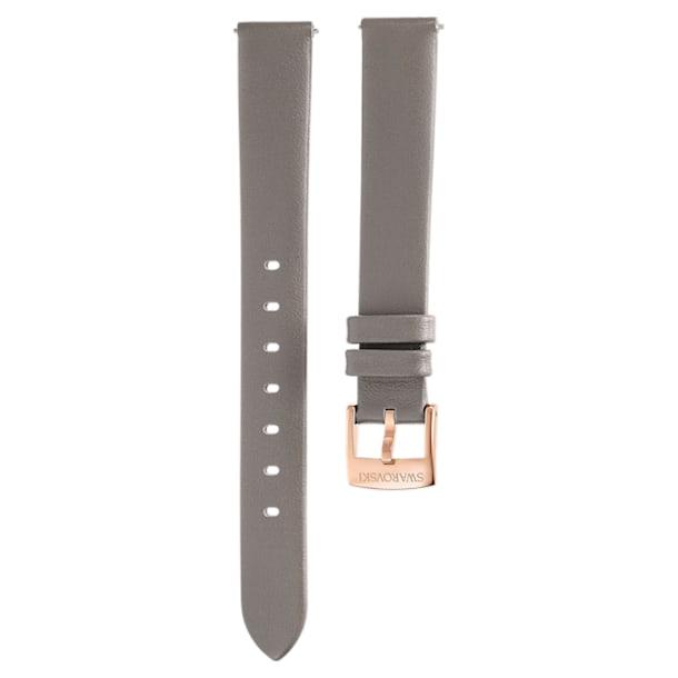 Pasek do zegarka 13 mm, skóra, szarobrązowy, powłoka PVD w odcieniu szampańskiego złota - Swarovski, 5485043