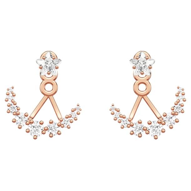 Moonsun Pierced Earring Jackets, White, Rose-gold tone plated - Swarovski, 5486351