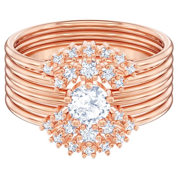 Moonsun Ring Set, White, Rose-gold tone plated - Swarovski, 5486359