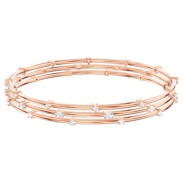 Moonsun Bangle Set, White, Rose-gold tone plated - Swarovski, 5486623