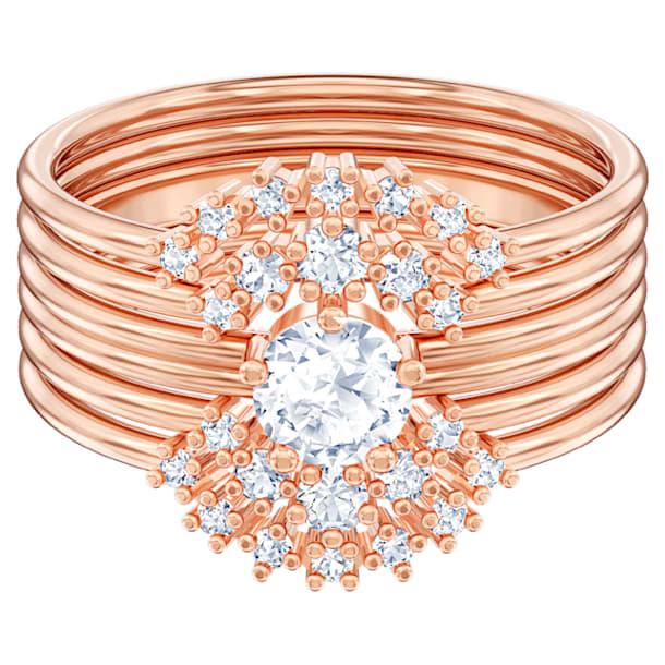 Moonsun Ring Set, White, Rose-gold tone plated - Swarovski, 5486805