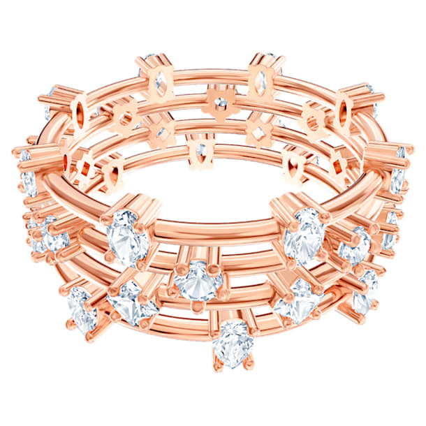 Moonsun Ring Set, White, Rose-gold tone plated - Swarovski, 5486806
