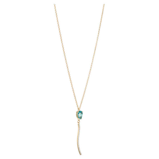 Arc-en-ciel necklace, Caribbean Blue Treated Swarovski Genuine Topaz, 18K Yellow Gold - Swarovski, 5487229