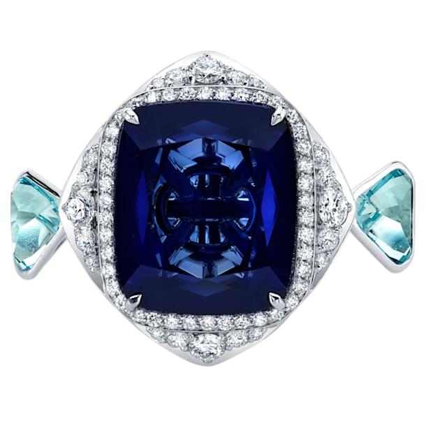 Azure Blue Cocktail Ring, 18K White Gold, Size 52 - Swarovski, 5487266