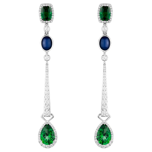 Rainforest Green Drop Earrings, Rainforest Green Treated Swarovski Genuine Topaz, 18K White Gold - Swarovski, 5487281