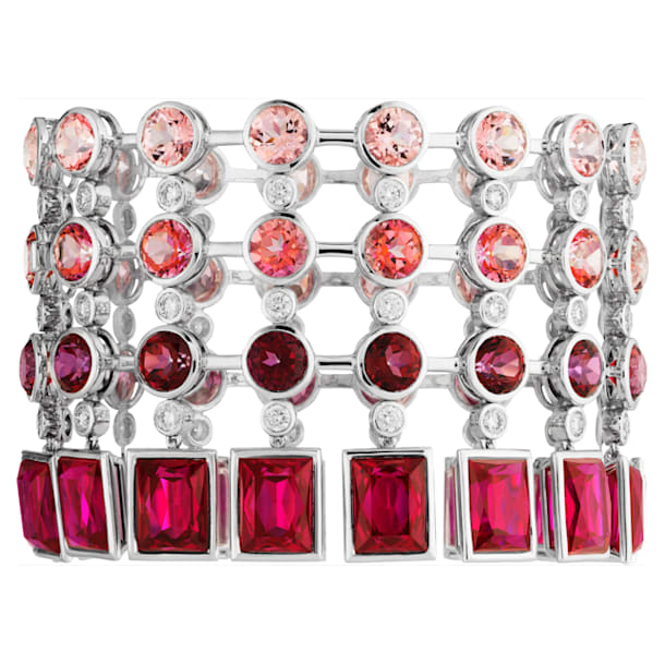 Flowering Fuchsia Cocktail Bracelet, Swarovski Created Ruby, 18K White Gold - Swarovski, 5487290