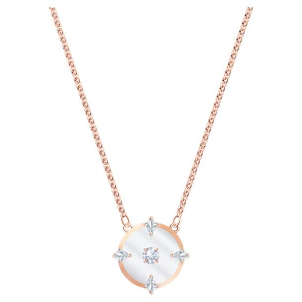 Collar North, blanco, Baño en tono Oro Rosa - Swarovski, 5488400
