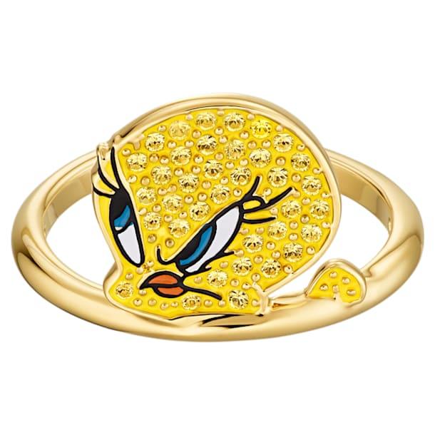 Looney Tunes 트위티 모티프 링, 옐로우, 골드 톤 플래팅 - Swarovski, 5488600
