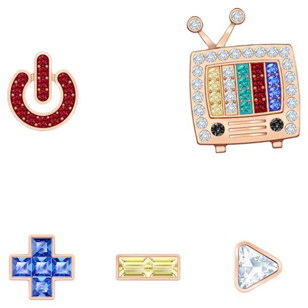 Play Pierced Earrings, Multi-colored, Rose-gold tone plated - Swarovski, 5489442