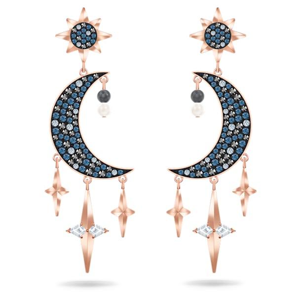 Swarovski Symbolic Серьги, Кристаллы разного размера, Луна и звезда, Разноцветные цвет, Покрытие оттенка розового золота - Swarovski, 5489536