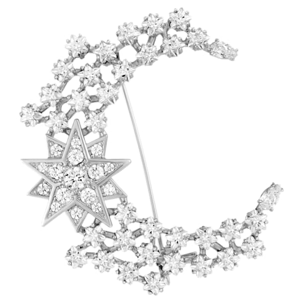 Moonsun Brooch, White, Rhodium plated - Swarovski, 5489759