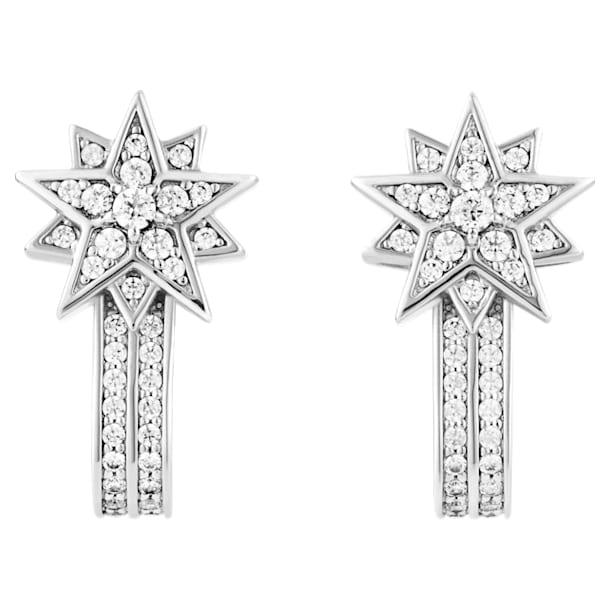 Moonsun Pierced Earring Jackets, White, Rhodium plated - Swarovski, 5489771